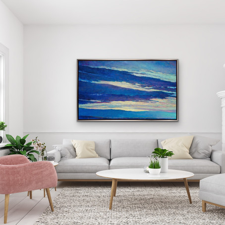 Grateful Notices: Blue Skyscape, oil on canvas, 36 x 60 in.