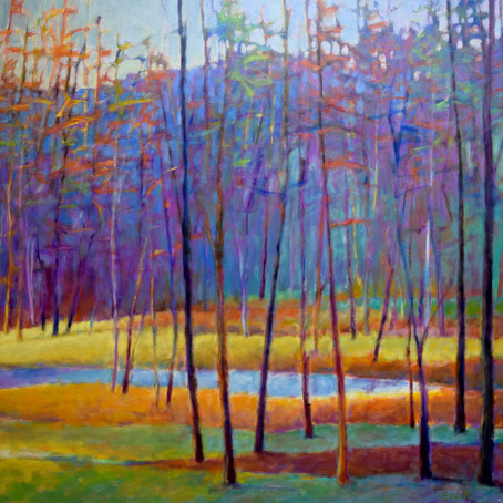 Grateful Notices: At the Ponds Edge, oil on canvas, 48 x 60 inches