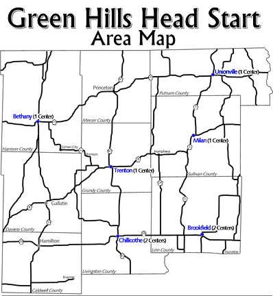 Map of area served by Green Hills Head Start