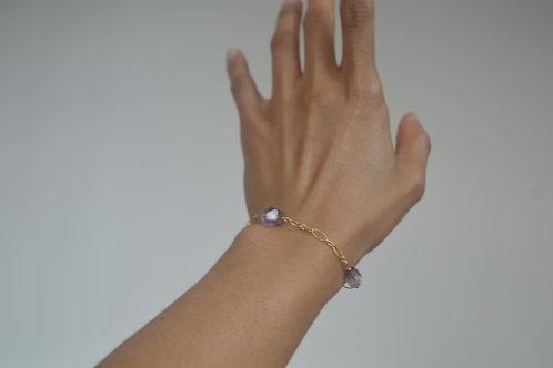 14k gold Amethyst Anklet/bracelet