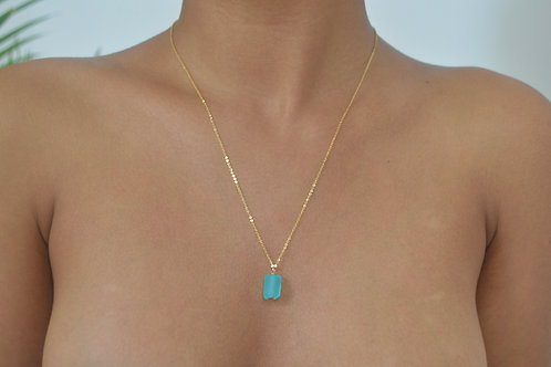14k gold & ice blue Chalcedony