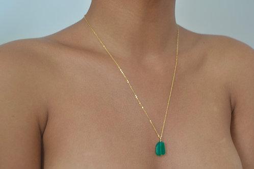 14k gold & Green Onyx