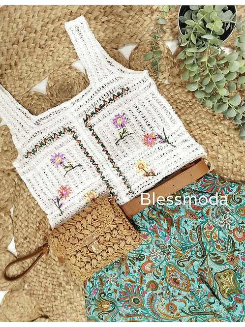 Top Crochet Flores