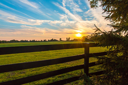 Dramatic sunset sky on countryside with
