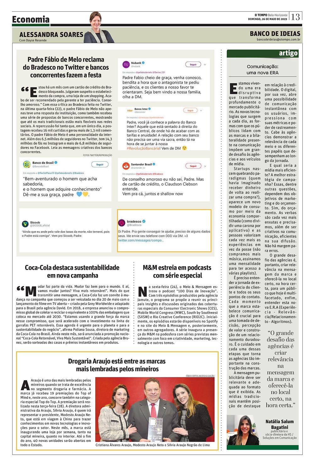 """Coluna completa """"Banco de ideias"""" do Jornal O Tempo"""