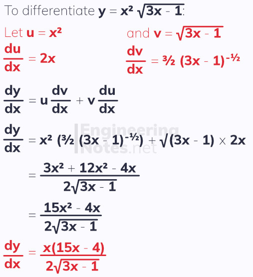 The product rule, differentiation. Free online A-Level Maths notes. EngineeringNotes.net, EngineeringNotes, Engineering Notes