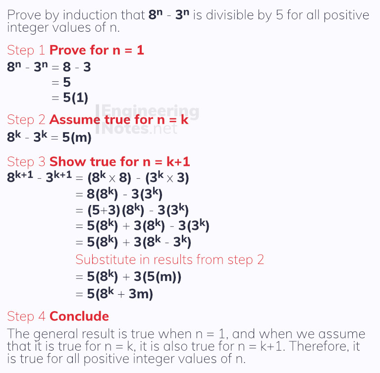 Proving divisibility results worked example. Proof by induction. Free online a-level further maths core pure 1 notes. EngineeringNotes.net, EngineeringNotes, Engineering Notes