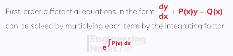 First-order differential equations, integrating factor. Differential Equations notes, free online a-level further maths core pure 2 CP2 notes. EngineeringNotes.net, EngineeringNotes, Engineering Notes.