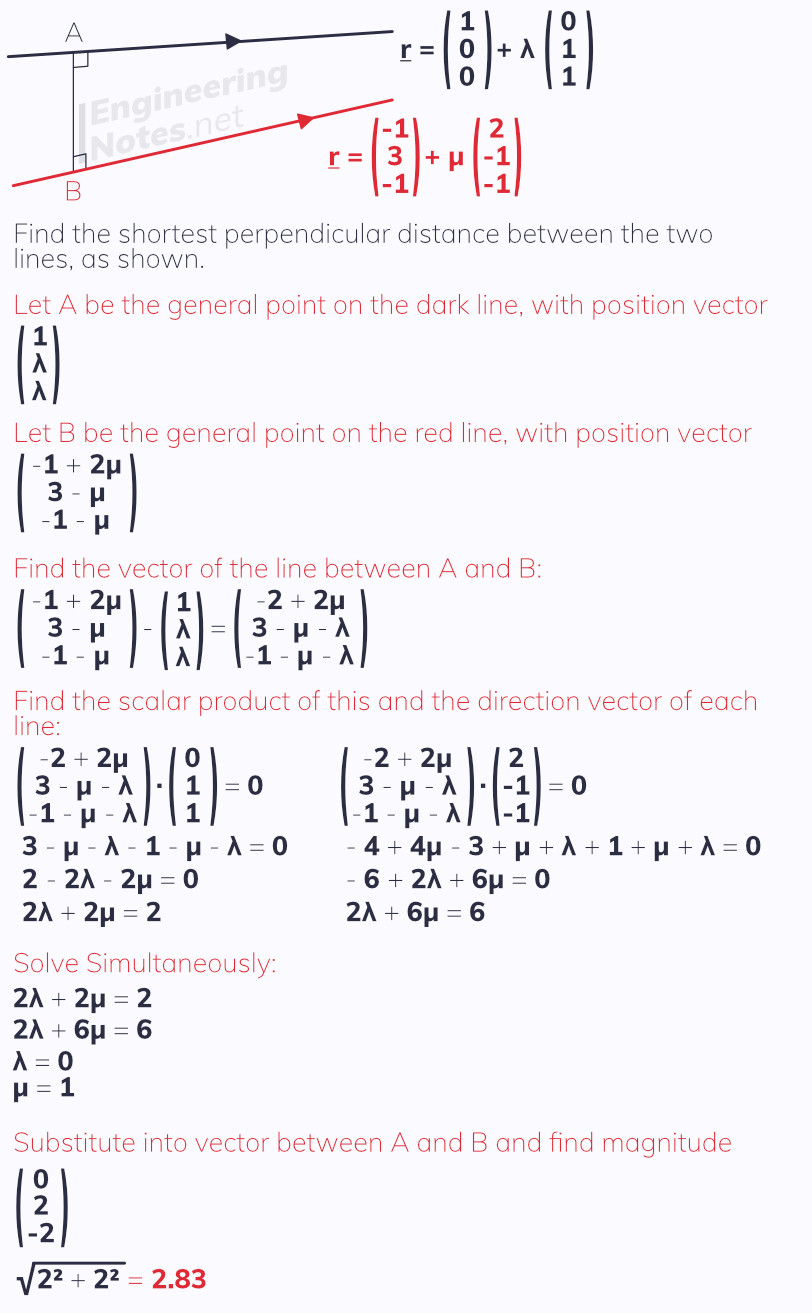 Distance between two lines in 3D vectors. Free online a-level further maths core pure 1 CP1 notes. EngineeringNotes.net, EngineeringNotes, Engineering Notes.