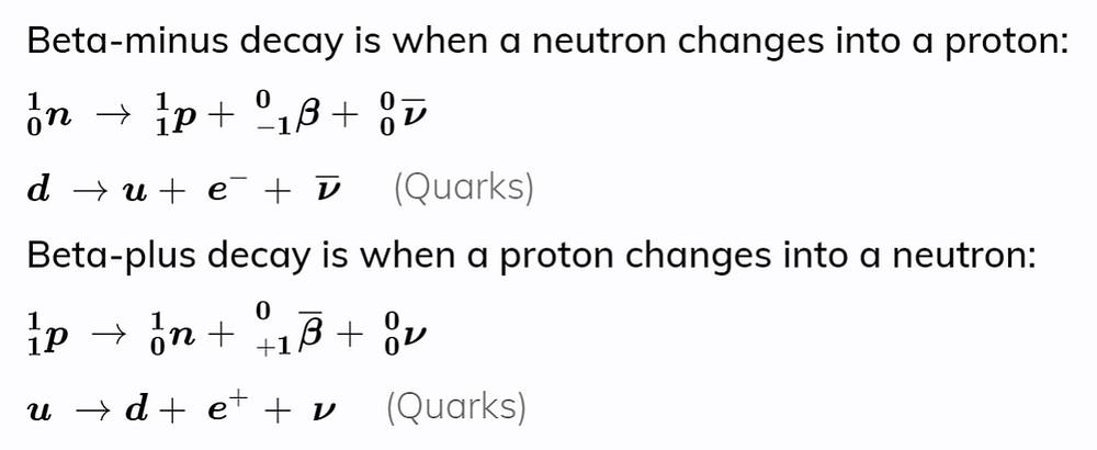 beta decay equations, beta decay quark equations. EngineeringNotes.net, EngineeringNotes, Engineering Notes