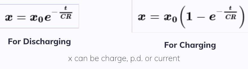 capacitor equations, capacitor charging discharging equation, exponential decay equation. EngineeringNotes.net, EngineeringNotes, Engineering Notes