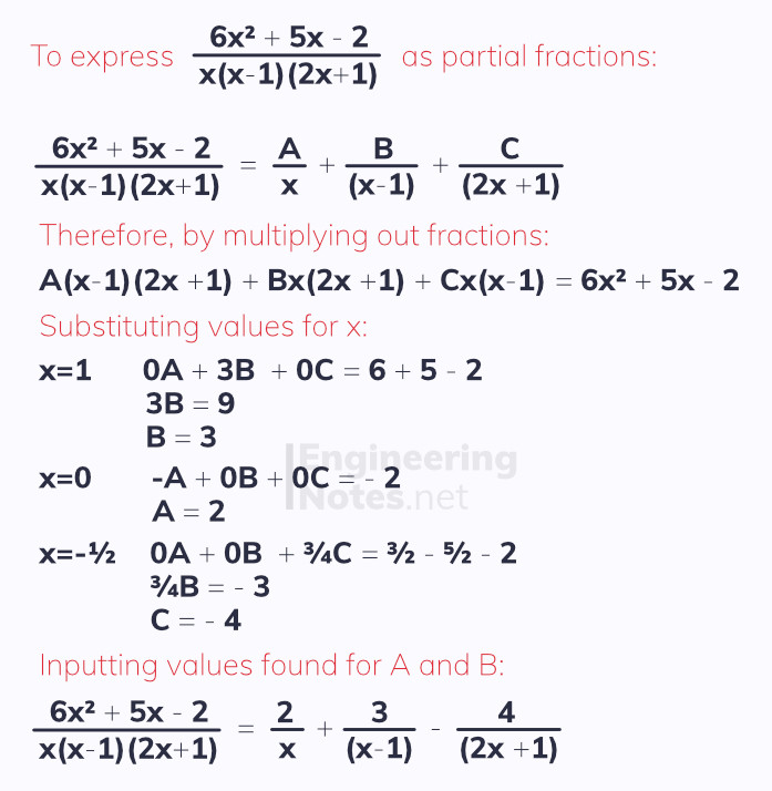 Partial Fractions for three factors, A-Level Maths. EngineeringNotes.net, EngineeringNotes, Engineering Notes