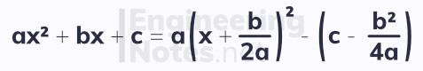 Completing the square, solving quadratic equations, A-Level Maths notes. EngineeringNotes.net, EngineeringNotes, Engineering Notes