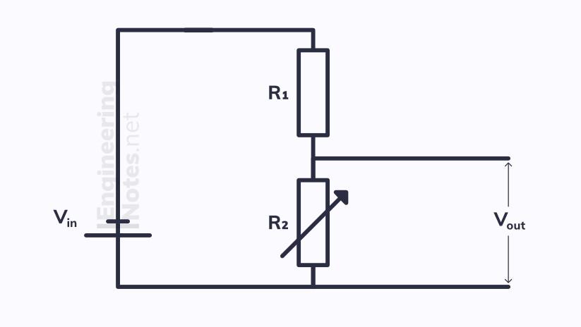 Potentiometer circuit, potential divider circuit. EngineeringNotes