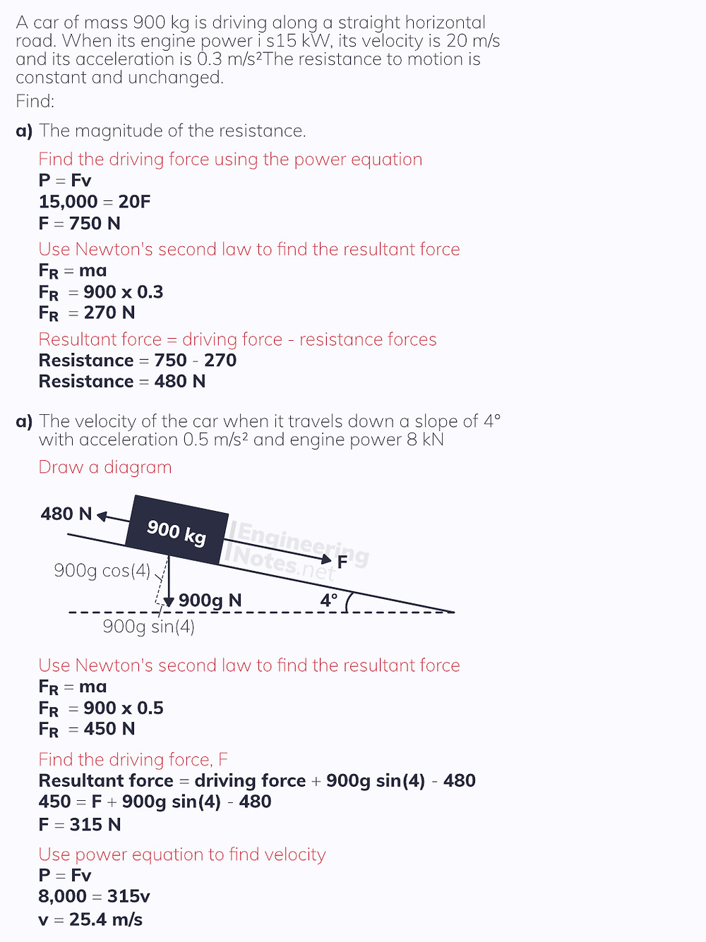 Power worked example, Momentum, Impulse, Work, Energy & Power Notes. Free online a-level further maths notes for further mechanics 1, FM1 Notes. EngineeringNotes.net, EngineeringNotes, Engineering Notes