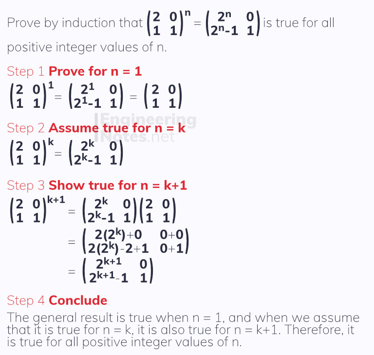 Proof by induction with matrices, matrix proof by induction. Free online a-level further maths core pure 1 notes. EngineeringNotes.net, EngineeringNotes, Engineering Notes.