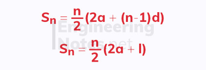 Arithmetic series equation, sum of first n terms of an arithmetic series, A-Level Maths Notes, GCSE Maths. EngineeringNotes.net, EngineeringNotes, Engineering Notes