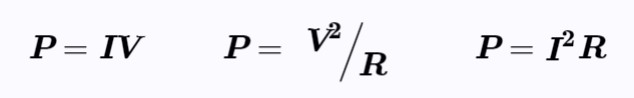 Electrical power equations, power equations, P=IV. EngineeringNotes