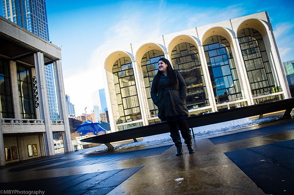 Jackie looking out at Lincoln Center