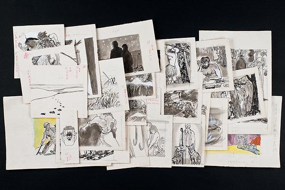 田中田鶴子 肉筆挿絵原画27枚『生きている山脈』