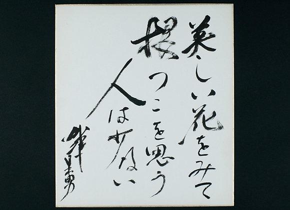 加藤日出男色紙「美しい花をみて根っこを思う人は少ない 加藤日出男」
