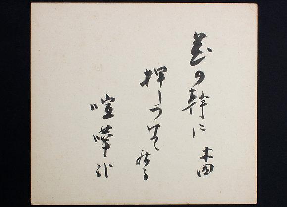 田村木国色紙 「花の幹に押しつけて居る喧嘩哉 木国」