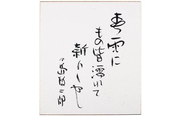 小島政二郎色紙 「春雨にもの皆濡れて新らしや 小島政二郎」