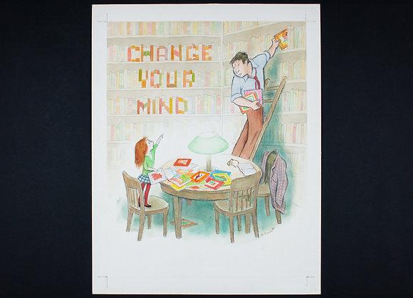マーク・シーモント 自筆ポスター原画「BOOK WEEK・November 16-22, 1987」(Marc Simont Original Painting