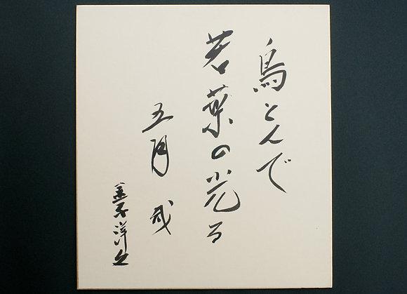 金子洋文色紙「鳥とんで若葉の光る五月哉 金子洋文」