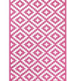 tapis rose/blanc