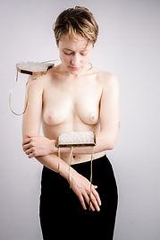 Artistic portrait from artist nude body sculpture