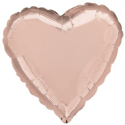 Rose Gold Heart Shaped foil balloon 18""