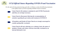 UCSJ Official Stance Regarding COVID-19 and Vaccination