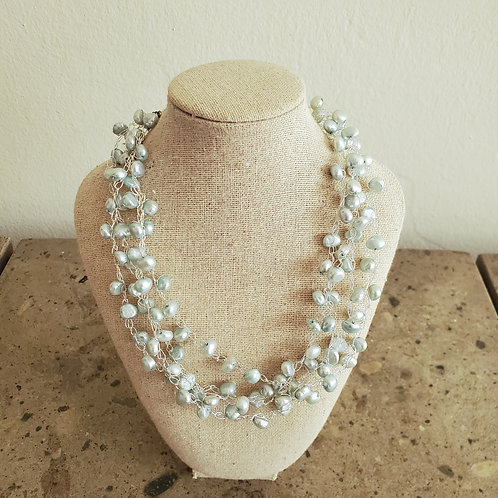 Item #19 - Light turquoise and silver sparkle necklace