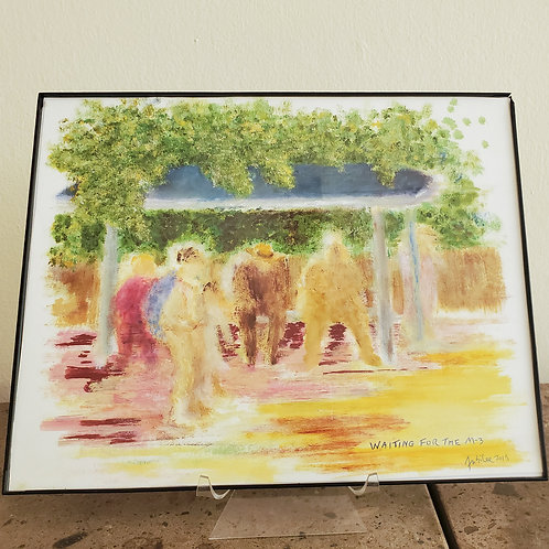 Item #6 - Waiting for the M3 Bus, an original painting by Vincent Jubilee