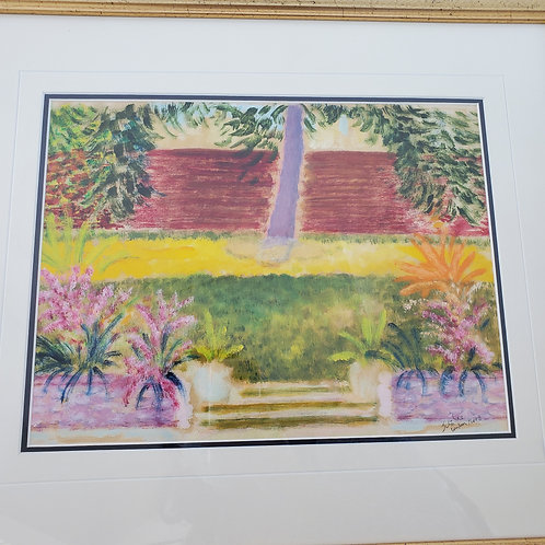 Item #11 - Original painting in an English Garden by Vincent Jubilee