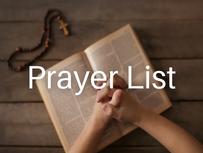 Prayer List (Updated: January 13, 2021)