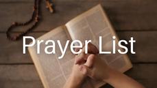 Prayer List (Updated: July 10, 2021)