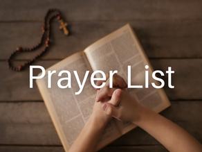 Prayer List (Updated: February 11, 2021)