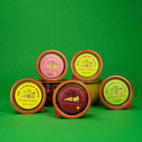 Bundle von 5 verschiedenen Curries im Glas, Kichererbsen Curry, Kürbis Curry, Rote Beete Curry, Chili Chutney, Mango Chutney