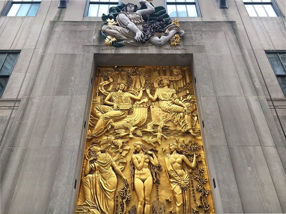 Rockerfeller Cener Gold Relief Sclupture