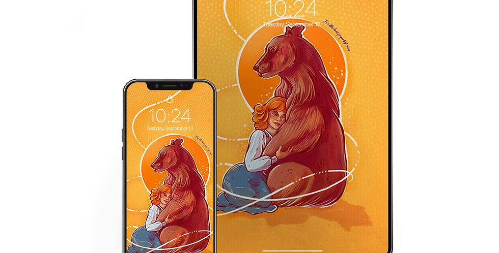 "Phone and Tablet Wallpaper | ""Bear Hug"""