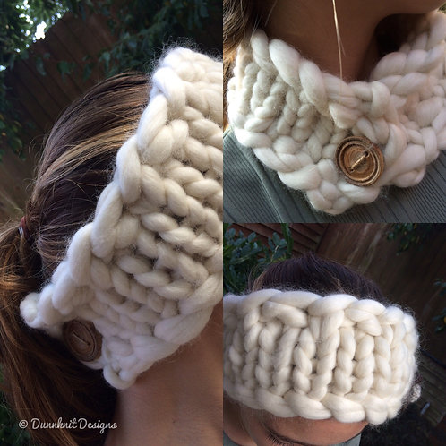 HEADBAND SCARF WITH HANDMADE WOODEN BUTTON
