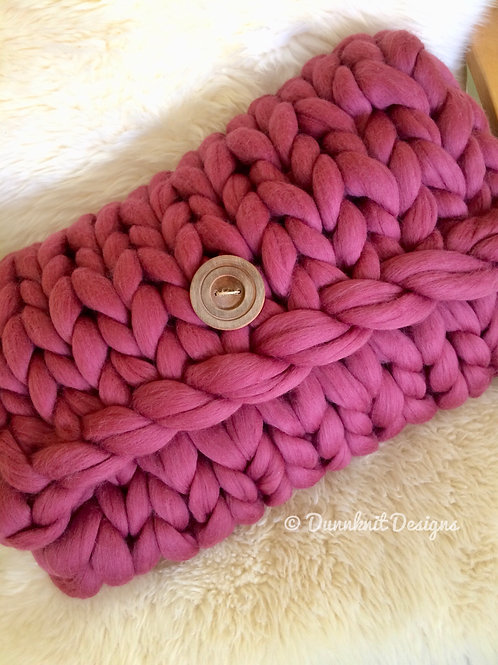 RECTANGULAR CHUNKY KNIT CUSHION WITH HANDMADE BUTTON