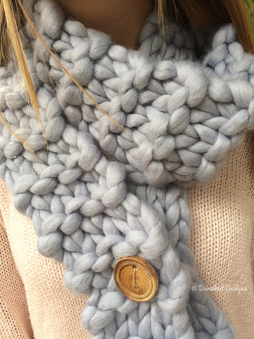 LONG WRAP AROUND, ADJUSTABLE CHUNKY KNIT SCARF WITH HANDMADE WOODEN BUTTON