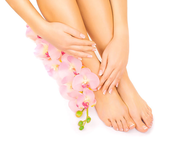 manicure and pedicure with a pink orchid