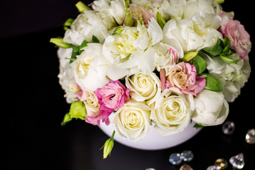 Peonies flower arrangement in soft light pink and white colors miami luxurious peonies and roses our most popular style in delicate pink white mightylinksfo