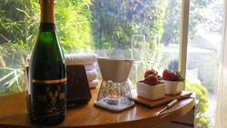 Vino blanco Cava Semi seco, fondue de chocolate de respostería y fresas