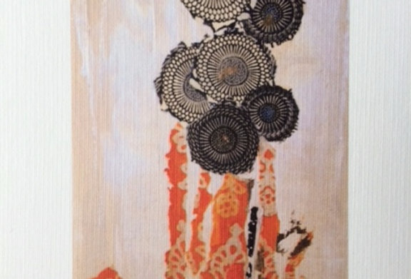 """Black Floral"" Note Card"