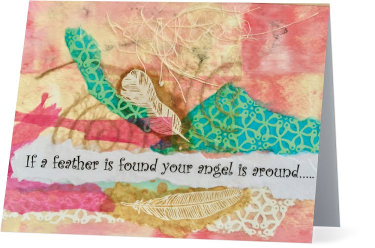 """""""Feathers""""pink-Note card"""